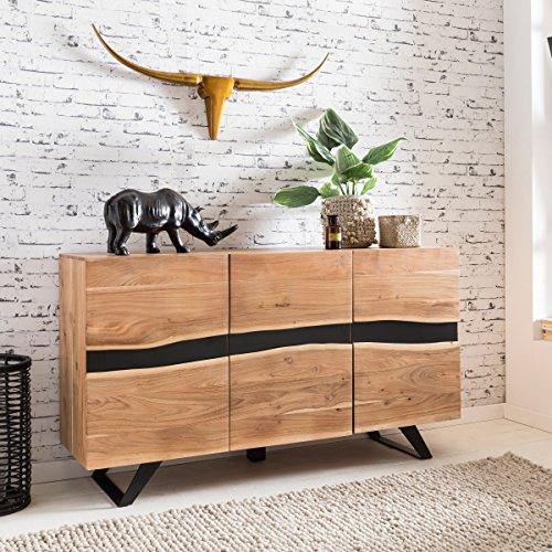 FineBuy Sideboard SAHARA 148 x 85 x 43 cm Massiv-Holz Akazie Natur Baumkante Anrichte   Landhaus-Stil Highboard mit 3 Türen   Flur Schrank Kommode