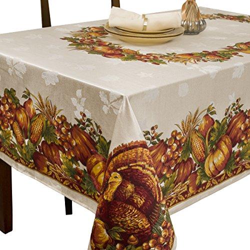 Benson Mills Ernte Splendor Engineered Tischdecke, Bedruckt, Baumwolle, cremefarben, 60 by 104 - Chambray-ernte
