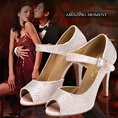 Dayiss Damen Latein Schuhe Tanzschuhe Peep Zehen Satin Strass Stiletto Pumps Damen Sandalen Brautschuhe Rosa mit Absatz 6cm