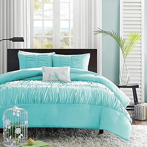 XMQC*Cuatro pedazo consolador conjunto ropa de cama hipoalergénica Ensembles cama completa azul