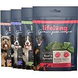 Marchio Amazon - Lifelong - Snack per cani, senza grano, con mono - proteina, selezione mista e superfood (4 confezioni da 24