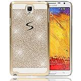 Samsung Galaxy Note 3 Neo Hülle Handyhülle von NALIA, Glitzer Slim Hard-Case Back-Cover Schutzhülle, Handy-Tasche im Glitter Design, Dünnes Bling Strass Etui Skin für Note 3 Neo Smart-Phone - Gold