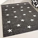 mynes Home Teppich Kurzflor Grau Sterne Muster Kinderteppich Kinderzimmer Jugendzimmer (80 x 150 cm)
