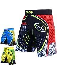 MMA Kick Boxing pantalones cortos de boxeo corto fitness-Studio formación sublima corto, color  - Schwarz und rot, tamaño klein