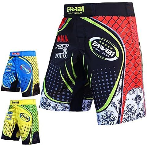 MMA Kick Boxing pantalones cortos de boxeo corto fitness-Studio formación sublima corto, color  - Schwarz und rot, tamaño
