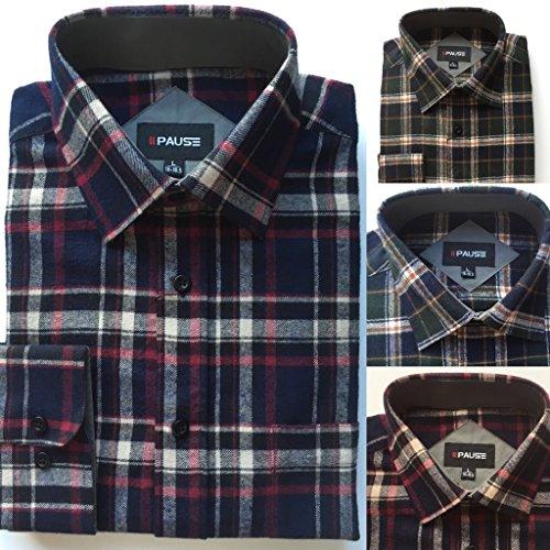 Mens Flannel Lumberjack Check Work Causal Shirt Brushed 100% Cotton M-5XL