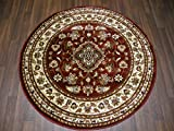 Woven Backed Red Traditional Rug 133cm x 133cm Top Quality Circular Round