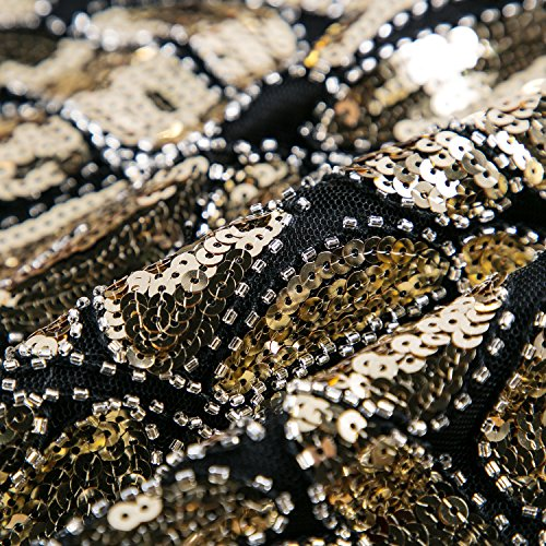 Metme Frauen der 1920er Jahre Perlen Pailletten Vintage Classic lange Flapper Gatsby Prom Kleid Gold