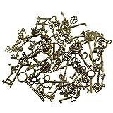 69 Stücke gemischt antike Bronze Vintage Skelett Schlüssel Charms DIY Halskette Anhänger für handgemachte Schmuck machen (Bronze)