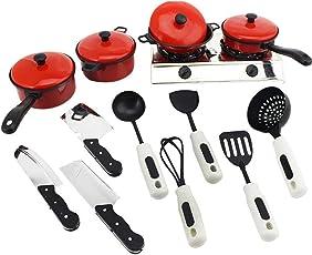 Nisels Kinderküche Spielküche Puppenküche Zubehör, Kinder Küche Spielzeug mit töpfe und kochgeschirr - 13 Stück Küchenzubehör