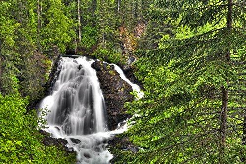 The Poster Corp Lucas Payne/Design Pics - South Fork Eagle River Falls Near Eagle River Southcentral Alaska Summer HDR Photo Print (96,52 x 60,96 cm) - Paynes Forks
