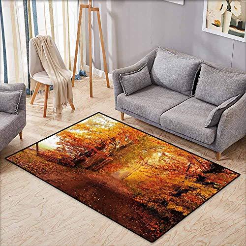 Rutschfester Teppich, fallende Blätter auf Holzwand, rustikaler Stil, antistatisch, wasserabweisend, Ringelblume, Orange 4'7