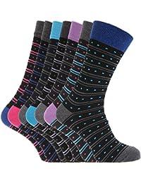 Soho Collection Herren Socken, schwarz mit bunten Streifen und Quadraten, 7 Paar