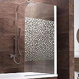 Schulte Duschwand Berlin, 80x140 cm, 5 mm Sicherheitsglas Terrazzo, alpin-weiß, Duschabtrennung für Badewanne