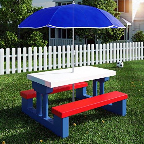 Kindersitzgruppe für drinnen und draußen inkl. Sonnenschirm - Kinder Sitzgruppe Kinderbank Kindermöbel Kindergartenmöbel Gartenmöbel Picknickgruppe 2 Bänke + Tisch