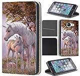 Samsung Galaxy S5 / S5 Neo Hülle von CoverHeld Premium Flipcover Schutzhülle Flip Case Motiv (1535 Einhorn Fantasy Pferd Fohlen)