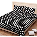 Spangle 104 TC Traditional Jaipuri Cotton Geometrical Printed Double Bedsheet With 2 Pillow Covers Black & White