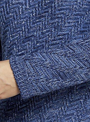 oodji Ultra Donna Maglione Testurizzato con Striscie Diagonali Blu (7975M)