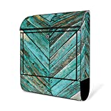 BANJADO Design Briefkasten schwarz | 38x47x13cm groß mit Zeitungsfach | Stahl pulverbeschichtet | Wandbriefkasten mit Motiv Altes Holz Blau mit Edelstahl Standfuß
