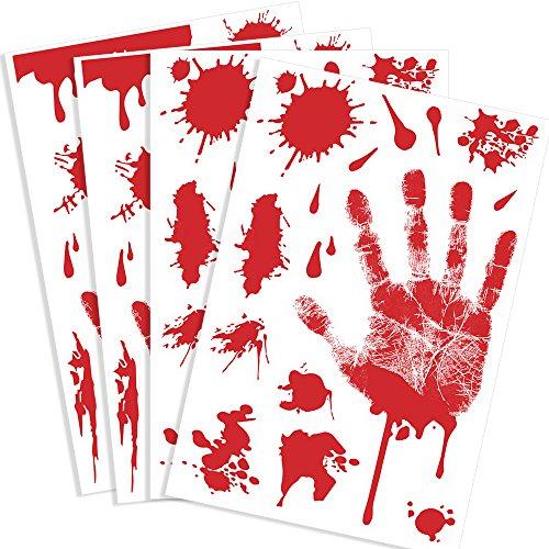 Kuuqa Bloody Handprint Clings Horror PVC Aufkleber Decals für Halloween Dekorationen 4 (Hände Blutige Fenster Dekor)