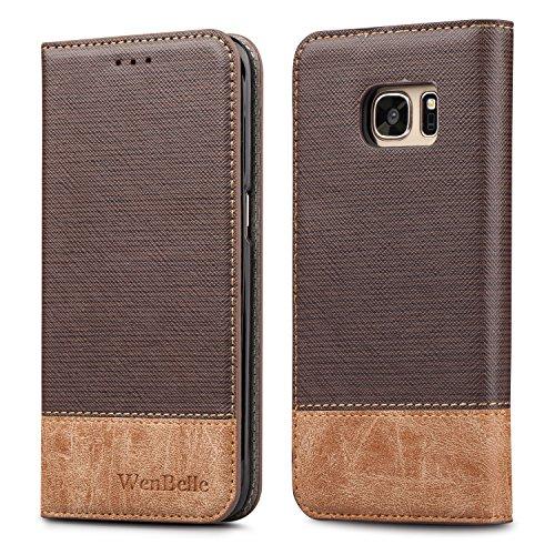 Galaxy S7Fall, wenbelle [Blazer Serie] Ständer Feature, Double Layer, Premium Soft pu Farbe passendem Leder Wallet Cover Flip Cases für Samsung Galaxy S7, Klassisches Braun -
