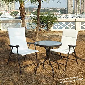 homestore global gartenm bel set glastisch 2 klappst hlen bistro bequem und. Black Bedroom Furniture Sets. Home Design Ideas