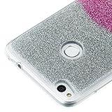 Glitzer TPU Hülle für Huawei P8 Lite 2017, Weich Gummi Handyhülle für Huawei P8 Lite 2017, Funyye Stilvoll Luxus Gradient Farbe Ultra Dünnen Glänzend Sparkles Bling Flexibel Stoßfest Bumper Soft Rückseite Tasche für Huawei P8 Lite 2017 + 1 x Frei Displayschu