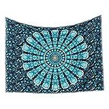 Kentop Tapisserie Mandala Wandbehang Indisch Psychedelic Wandteppich Boho Hippie Tapestry Wandtuch Tischdecke Strandtuch Picknick Decke Wanddeko (Grün)