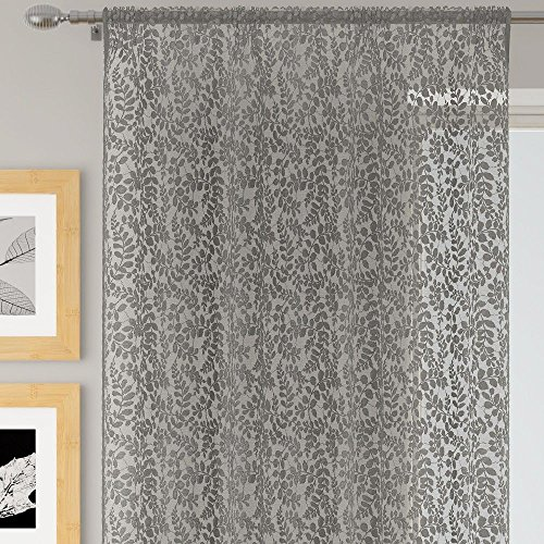 Mirabel willow - tenda a pannello - in voile - bordo superiore con passanti nascosti - floreale - grigio argento - larghezza 142 x lunghezza 183 cm