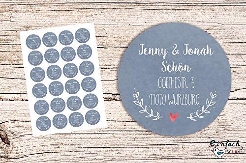 48 x Personalisierte Adress Aufkleber BLAU Wunschdruck Aufkleber matt 4cm Etiketten Geschenkaufkleber