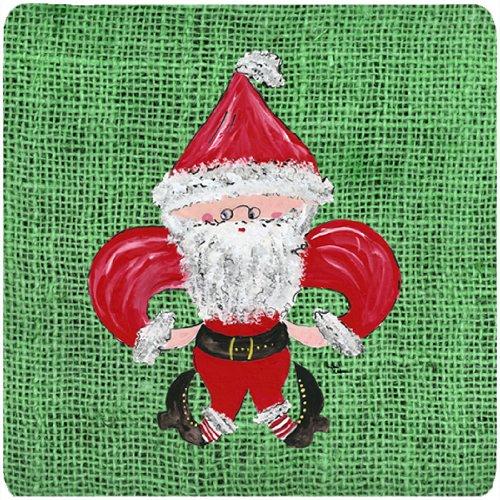 Caroline 's Treasures 8746FC Weihnachten Santa Fleur de Lis Schaumstoff Untersetzer (4Stück), 8,9cm H x 8,9cm W, multicolor -