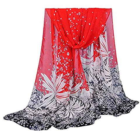 SUNNOW® Women Ladies Elegant Dandelion Pattern Soft Long Sheer Chiffon