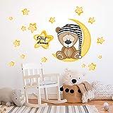 R00101 Adhesivos de pared Oso Estrellas Luna Decoración Dormitorio infantil Niño - Papel Pintado Adhesivo Efecto Tela