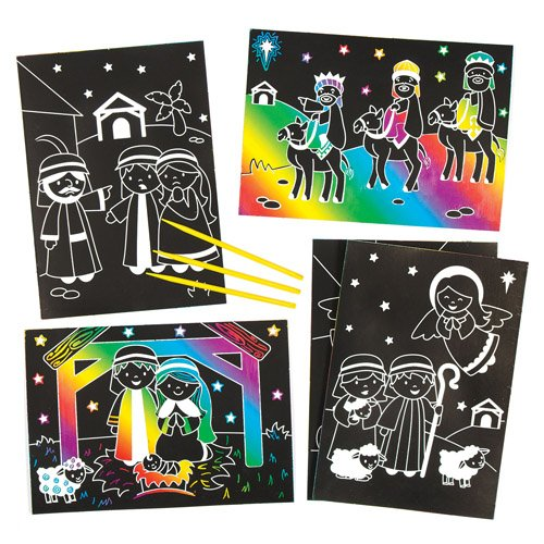 Krippenspiel-Kratzbilder für Kinder zum Gestalten und Verzieren zu Weihnachten - Kreatives Bastelset für die Weihnachtszeit (6 Stück)