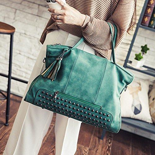 Donna Retrò Vintage PU Pelle Borsa A Tracolla Borsetta Shopper Grande Borse A Mano Verde