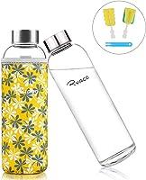 Ryaco Botella de Agua Cristal 550ml, Botella de Agua Reutilizable 18 oz, Sin BPA Antideslizante Protección Neopreno...