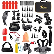 Kitway 50 in 1 Accessori Kit per GoPro Hero6 5 4 3+ 2 1 Black and DBpower/ SJCAM SJ5000X APEMAN/ Campark 4K Act76/ Tonbux/ WiMiUS Action Cam