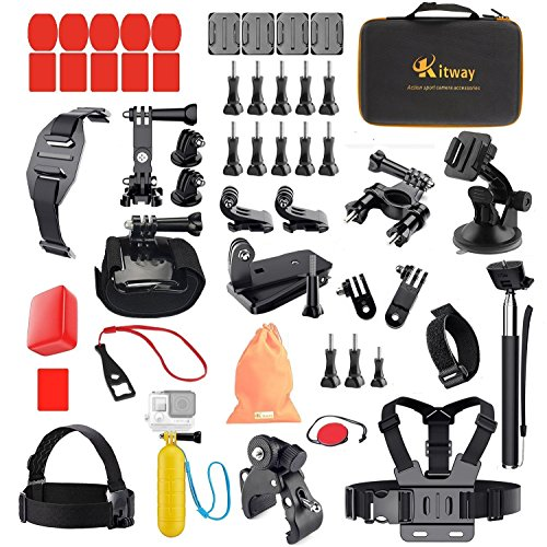 Action Camera Accessories Bundle Kit with Sturdy for GoPro 6 Go pro 5 Black Session 4 3 3+ 2 1 Akaso campark EK7000 DBpower N6 Yi 4k Fitfort Wewdigi EV5000 Crosstour APEMAN Vemico More (50 in 1)