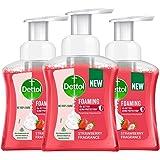 Dettol Foaming Handwash Pump - Strawberry (Pack of 3-250ml each) | Rich Foam | Moisturizing Hand Wash | Soft on Hands, Red