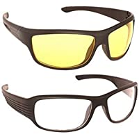 Dervin UV Protection Wrap Around Night Drive Unisex Sunglasses (White, Yellow Combo of 2)