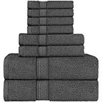 Utopia Towels 8 Piece Towel Set, Dark Grey, 2 Bath Towels, 2 Hand Towels, and 4 Washcloths