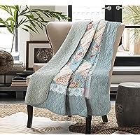 Unimall 3557856 Premium gesteppt Tagesdecke 150 x 200 cm Bettüberwurf aus Baumwolle Sofaüberwurf mit Blumen Patchwork, Blau