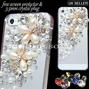 FOR APPLE iPHONE 5C LUXURY 3D PEARL CRYSTAL DIAMOND BLING CASE DIAMANTE GEM COVER + SCREEN PROTECTOR , COMES IN ONLINE SOKO PACKAGING