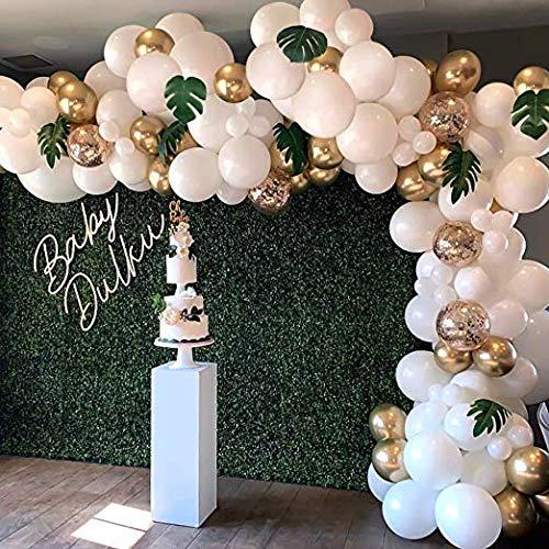 Erosion auf Garland Arch Kit, Weißgold Konfetti Luftballons 101 Stück, künstliche Palmblätter 6 Stück, Luftballons für Partys, Party Hochzeit Geburtstag Luftballons Dekorationen