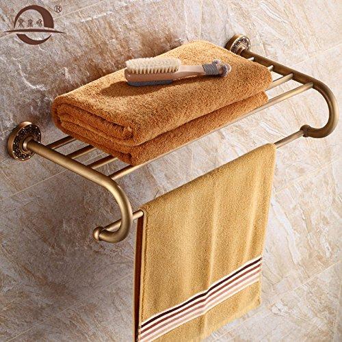 KHSKX Ottone pieno di antiquariato retrò continentale di accessori per il bagno bagno Asciugamani asciugamani in bronzo con rack doppio ripiano rack 625*260mm