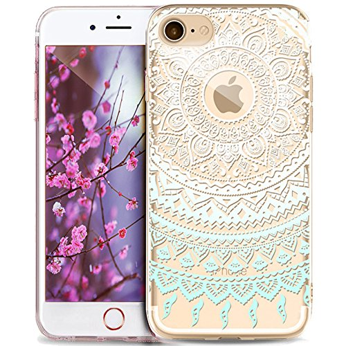 Cover iPhone 6S,Custodia iPhone 6S,Cover iPhone 6,Custodia iPhone 6,ikasus® Crystal Clear TPU con Indische Sonne Mandala del fiore per iPhone 6S / 6 Custodia Cover [Crystal TPU] [Shock-Absorption] Pro Mandala del fiore #5