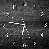 Wallario Glas-Uhr Echtglas Wanduhr Motivuhr • in Premium-Qualität • Größe: 30x30cm • Motiv: Dunkler Schwarzer Stein - Muster - Steinoptik