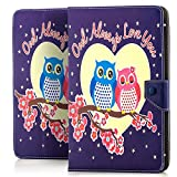 Saxonia Tablettasche Case Universal Tablet Tasche mit Motiv Verliebte Eulen (Owl Always Love You)