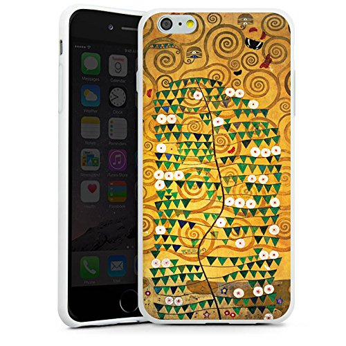 Apple iPhone SE Tasche Hülle Flip Case Klimt Tree of Life Kunst Silikon Case weiß