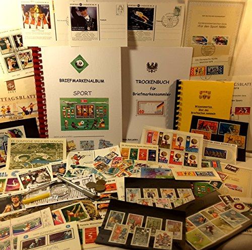 Boemaus500 Briefmarkenset für Kinder, Thema: Sport, mit Trockenbuch,Pinzette und Lupe (XXX-Large)